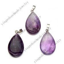 Wholesale 20pcs/lot Drop Amethyst Drop Gemstone stone Silver Beads Pendants