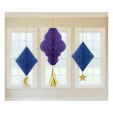 3 x Eid Ramadan Celebration Hanging Honeycomb Party Decorations Purple & Blue