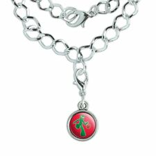 Sporty Gumby Basketball Player Clay Art Silver Plated Bracelet with Charm