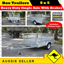 8x5Heavy Duty Single Axle Box Trailers With Brakes Includes 900mmCage/BOXTRAILER