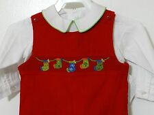 Vive La Fete Boys Smocked Overall Christmas Stocking Red and White 9 Months