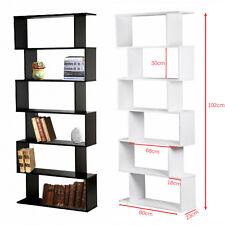 PANANA Wooden S Shape Storage Display Unit Bookcase Bookshelf Shelves 6 Tier New