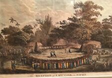 Circa 1700s Captain Cook The Reception In Hapaee Hand Colored Engraving