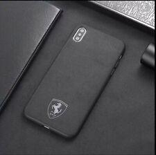 iPhone XS MAX Ferrari Suede Alcantara Cover Black Phone Case UK