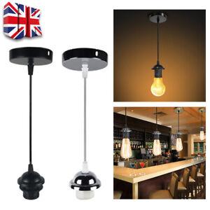 UK Light Flex Pendant Fitting Ceiling Rose E27 Suspension Set Lamp Base Holder T