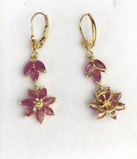 14k Solid Gold Leverback Cluster Dangle Earrings, Natural Ruby 3.5TCW