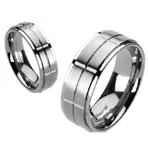 Titanium Traditional Wedding Engagement Band Brushed Cross Grooved Center Ring