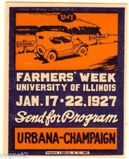 POSTER STAMP US 1927 FARMERS WEEK UNIV OF ILLINOIS AUTO