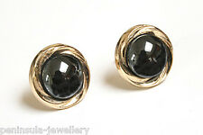 9ct Gold Hematite Button Stud Earrings Gift Boxed studs Made in UK