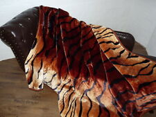 XXL KUSCHELDECKE Tagesdecke Wohndecke Decke Felldesign Tiger - Look 200x240cm