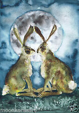 PRINT FROM ORIGINAL WATERCOLOUR HARE BY MOON HARES ART PAINTINGS & PRINTS