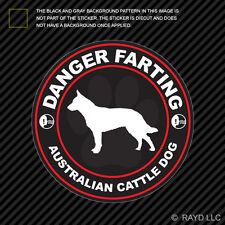 Danger Farting Australian Cattle Dog Sticker Decal Self Adhesive dog canine pet