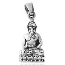 Meditating Buddha Pendant Statue Sterling Silver 925 Statue Good Luck Safe Charm