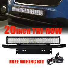 "20"" 630W Tri-Row LED LIGHT BAR Combo+Front Bumper License Plate Mounting Bracket"