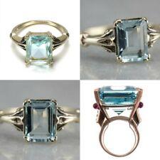 Fashion 925 Silver Aquamarine Gem Engagement Wedding Ring Jewelry Size 6-10