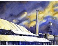 American Tobacco Campus in Durham, NC painting.  Watercolor Durham  art (print)