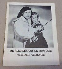 """Return of the Corsican Brothers"" Greene Old Danish Vtg Original Movie Program"