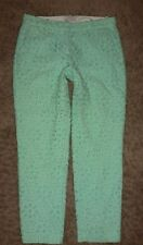 J CREW CAFE CAPRI Pinwheel Eyelet Mint Green Cropped PANTS sz 00 65899 ($128) D6