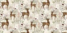 Christmas Fabric - Winter Garden Deer Cardinal Stripe CP54702 - Springs YARD