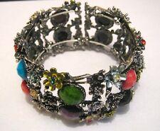 Wonderful expandable cuff style bracelet silver tone metal flower design
