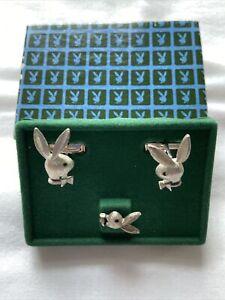 Vintage 1970s PLAYBOY BUNNY Cufflinks Set With Tie Tack Silver Tone ORIGINAL BOX