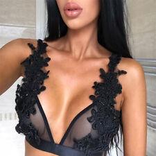 Womens Floral Sheer Lace Triangle Bralette Bra Bustier Crop Top Unpadded Mesh