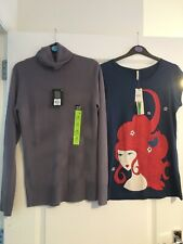 2 LADIES TOPS BLUE RED HAIR LADY GREY SOCK POLO NECK JUMPER PULLOVER UK 12 LONG
