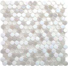 White Iridescent & Clear Penny Glass Kitchen Bath Wall Mosaic- 14 Per Box