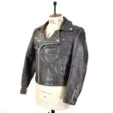 Men's vintage anni'70 NERO effetto INVECCHIATO Vera Pelle Giacca Da Motociclista Moto UK S