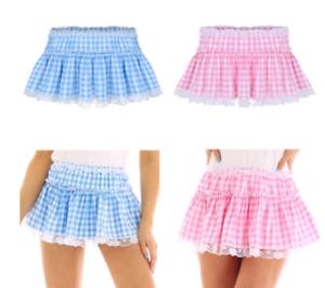 Pastel Plaid Gingham Mini Skirt Unisex Men Country Tennis Lace Hem Pleated Skirt