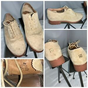Sperry Top Sider Wing Tip Shoes Sz 8 Women Beige Suede Excellent YGI G0S-82