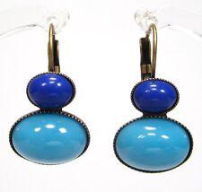 SoHo® Ohrhänger vintage böhmisches glas 1960s hellblau blau bronze original 60er
