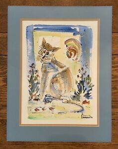 JO BIRDSEY, LISTED ARTIST, RARE WATERCOLOR CAT & FISH VINTAGE MODERN ABSTRACT
