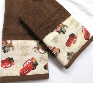 Handmade CARS for Kids Pretty Brown Towels for Childrens Room - CARS Fun
