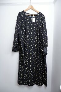 H&M New Maxi Long Dress Size XXL Women's 3/4 Sleeves Black