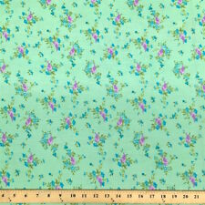 Finch Green Print Fabric Cotton Polyester Broadcloth By The Yard 60""