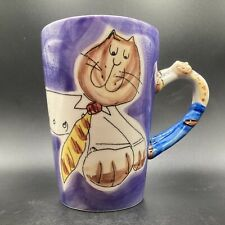"""More details for beth for whittard """"c o mr fat cat"""" handpainted on stonewear mug"""