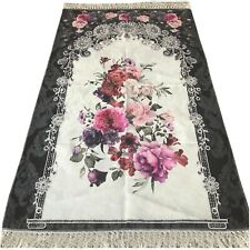 Bazachi Digital Floral Cotton Prayer Rug(Adult)-Large Prayer Mat-125x67cm -Black