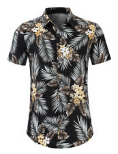 Mens Beach Shirts Short Sleeve Slim Fit Button Down Floral Hawaii Camisas WD216