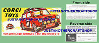 Corgi Toys 339 Mini Cooper Monte Carlo 1967 Instruction Leaflet & Poster Sign