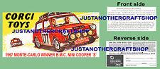 Corgi Toys 339 Mini Cooper Montecarlo 1967 instrucciones Folleto & Poster Cartel