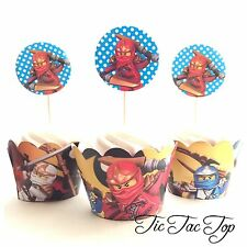 12pcs Lego Ninjago Cupcake Toppers + Wrappers. Party Supplies lolly bag loot