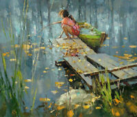 LMOP991 hand painted fishing girl playing by the lake oil painting on canvas art