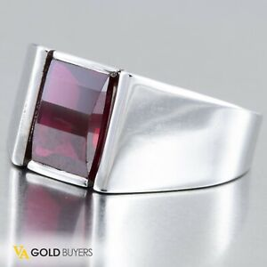 Solid 14k White Gold and Ruby Gentlemen's Statement Ring - Size 10.5