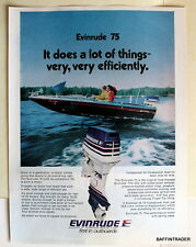 Evinrude 75 Outboard Magazine Print Ad 1975 8 x 11
