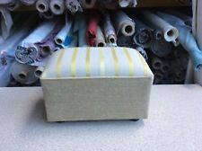 footstool / pouffe upholstered in Laura Ashley Luxford stripe Gold