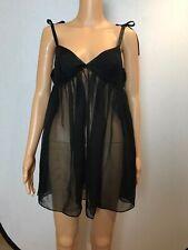 Vintage Victoria Secret Black Shear Satin  Nightgown Size Medium Babydoll