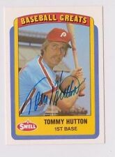 1990 Swell Baseball Greats Tommy Hutton Philadelphia Phillies Autographed Card