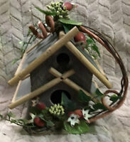 Vintage Hand Made Green Distressed Wood Floral  Decorated Birdhouse