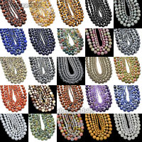 Faceted Natural Gemstones Round Spacer Loose Beads 15.5'' 4mm 6mm 8mm 10mm 12mm
